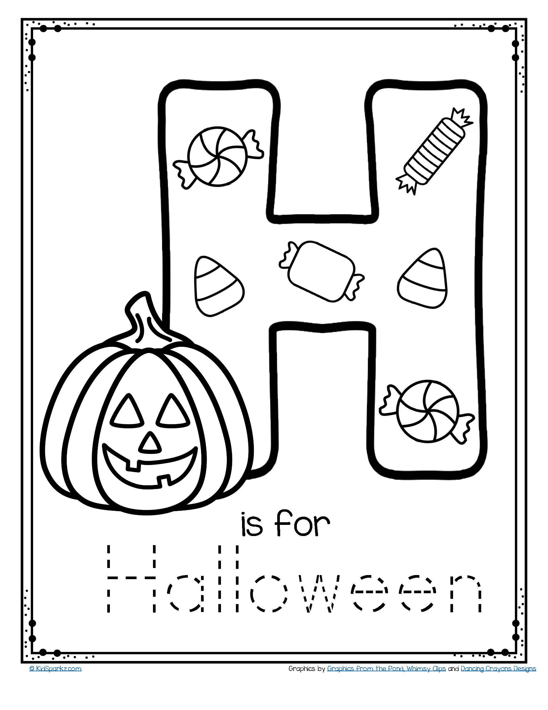 Preschool Halloween Worksheets Free Letter H is for Halloween Trace and Color Printable Free
