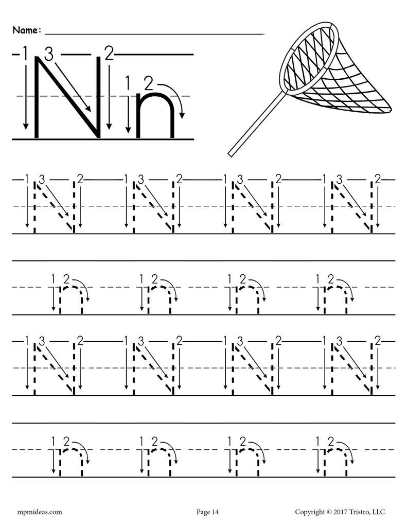 Preschool Letter N Worksheets Printable Letter N Tracing Worksheet with Number and Arrow Guides
