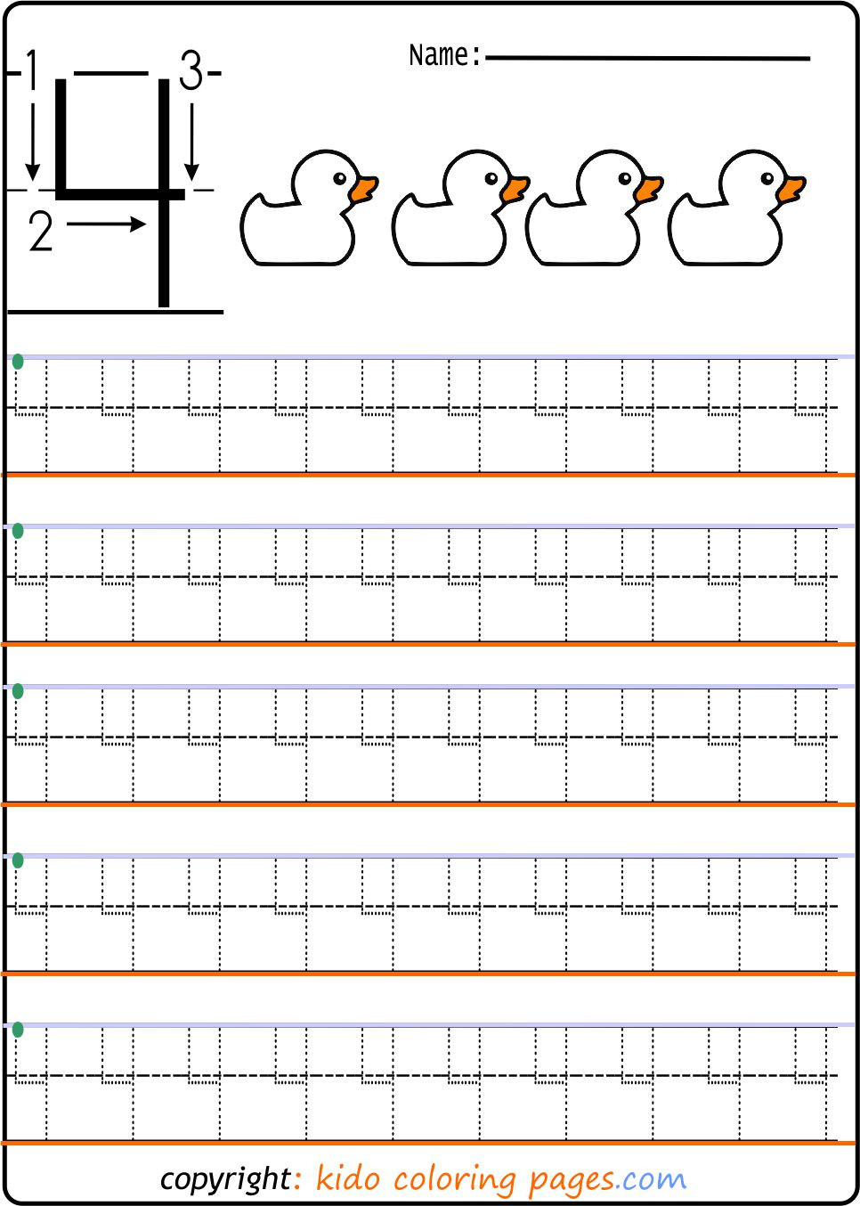 Preschool Number Tracing Number 4 Tracing Worksheets for Preschool Kids Coloring Pages