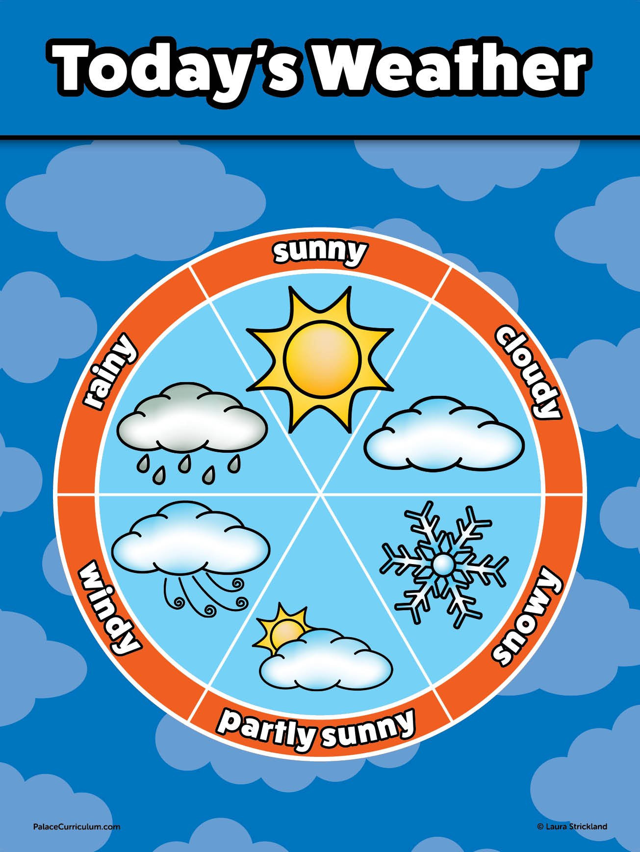 """Preschool Palace Curriculum Weather Chart for Kids Laminated 18"""" X 24"""""""