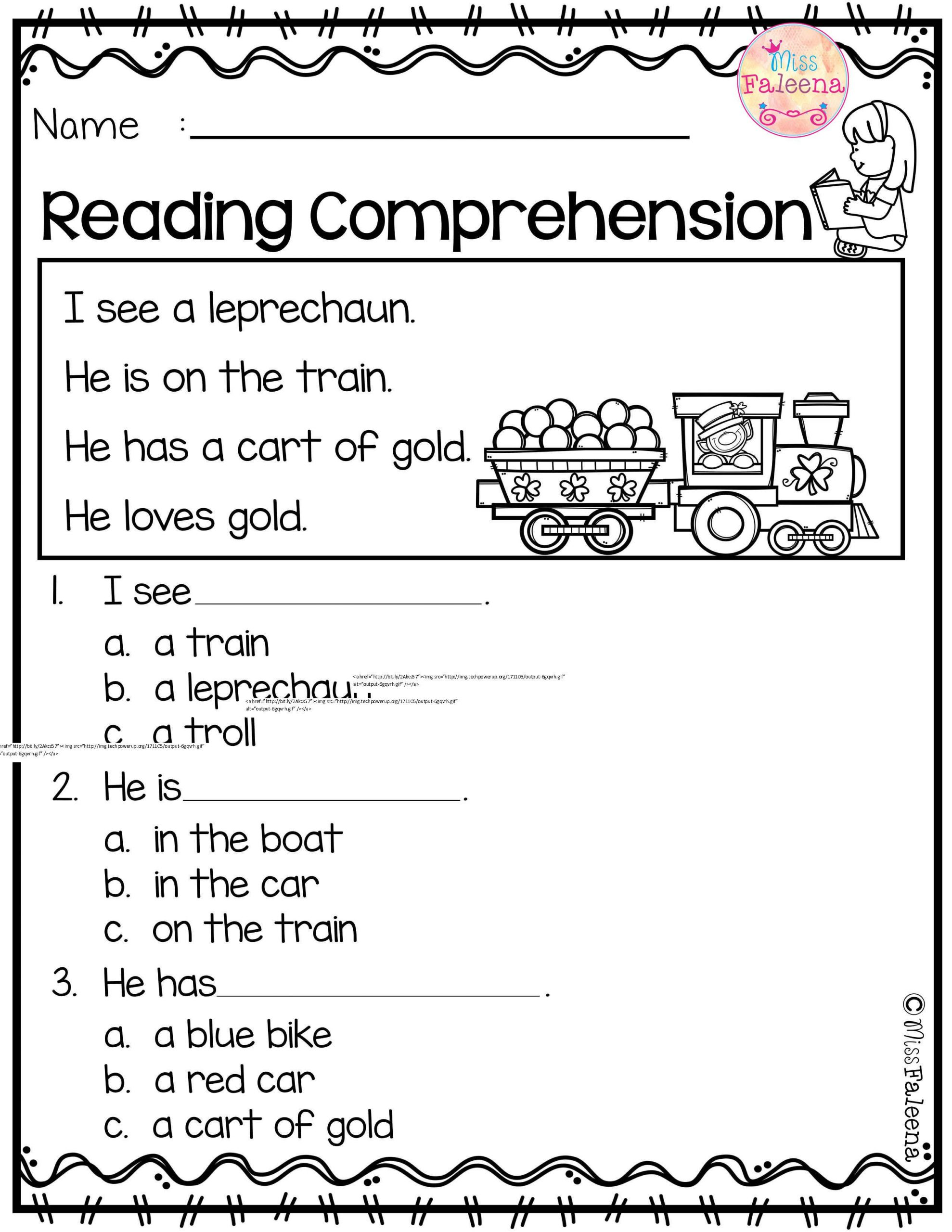 Preschool Reading Comprehension Worksheets March Reading Prehension
