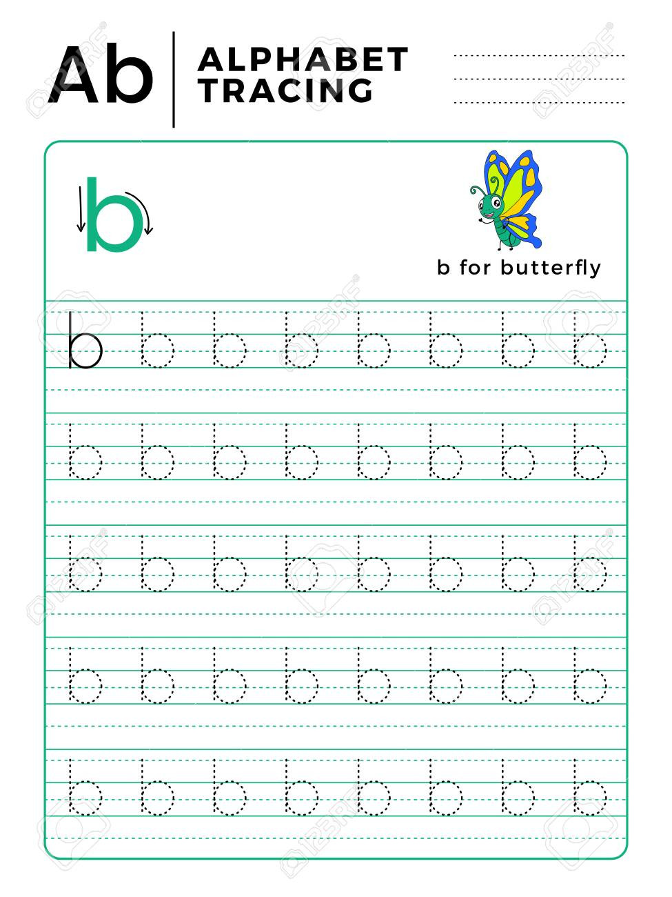 Preschool Worksheets Letter B Letter B Alphabet Tracing Book with Example and Funny butterfly