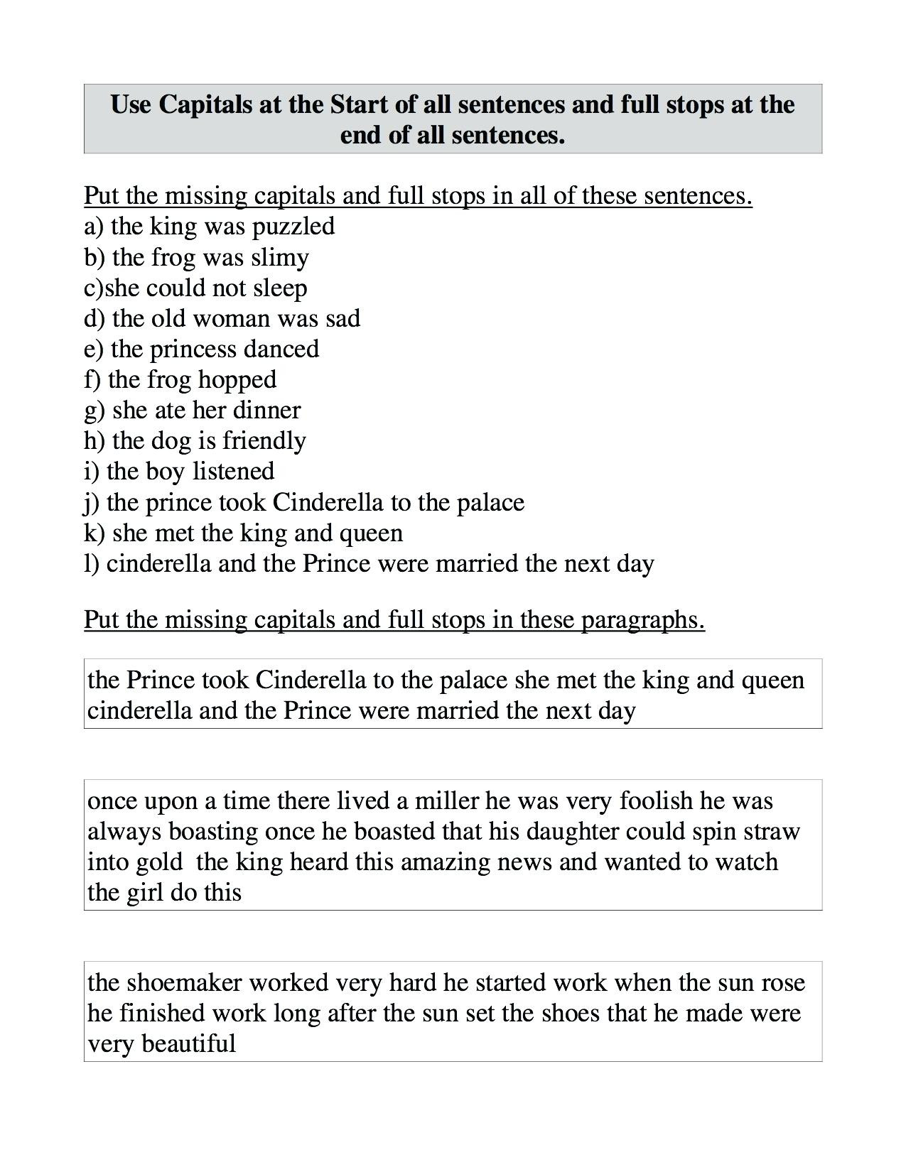 Printable Capitalization Worksheets Capitalization Worksheets Middle School Punctuation and