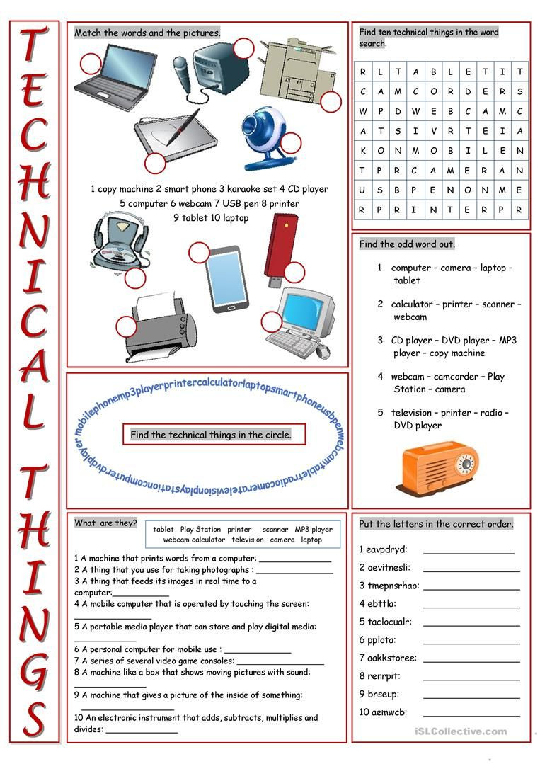 Printable Computer Worksheets Technical Things Vocabulary Exercises Worksheet Free Esl