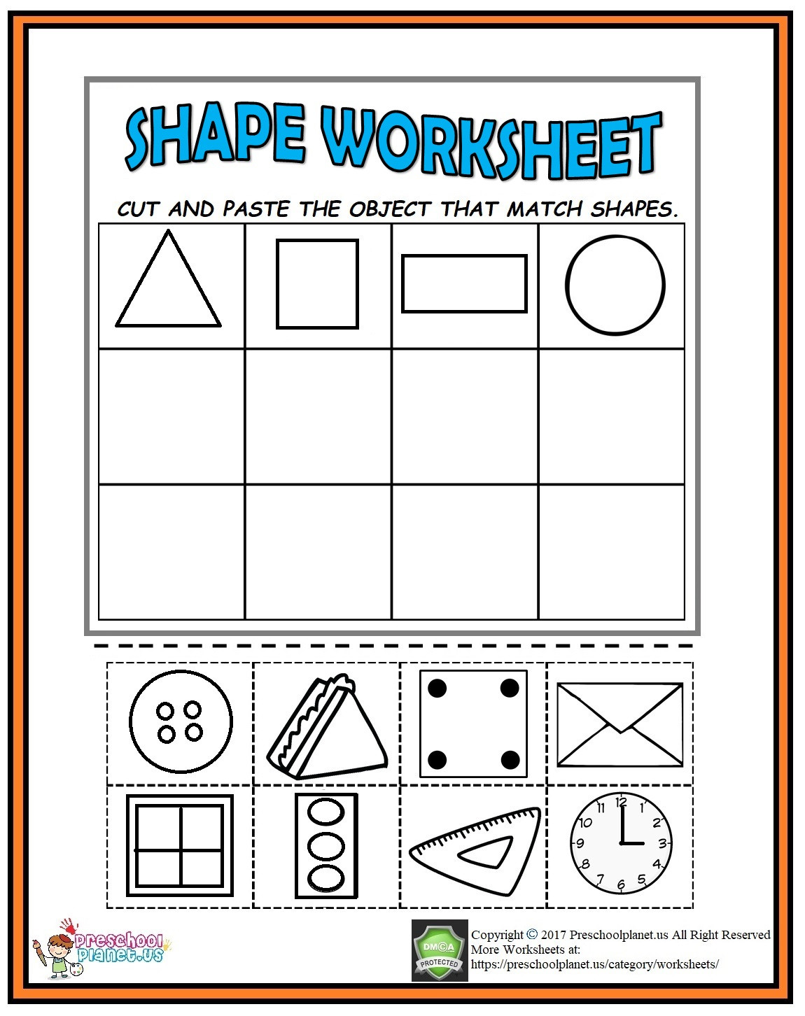Printable Cut and Paste Worksheets Cut and Paste Shape Worksheet Preschoolplanet Cutting Shapes