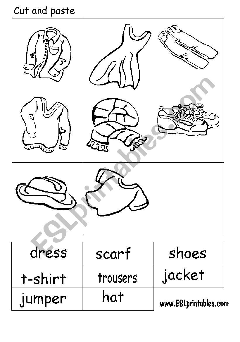 Printable Cut and Paste Worksheets the Clothes Cut and Paste Worksheet Esl Worksheet by Victor