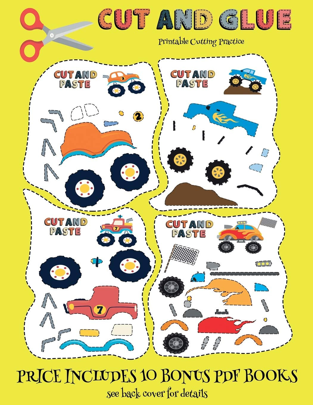 Printable Cutting Worksheets for Preschoolers Printable Cutting Practice Cut and Glue Monster Trucks