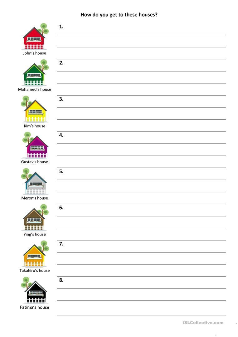 Printable Following Directions Worksheets Give and Follow Directions On A Map Worksheet Free Esl