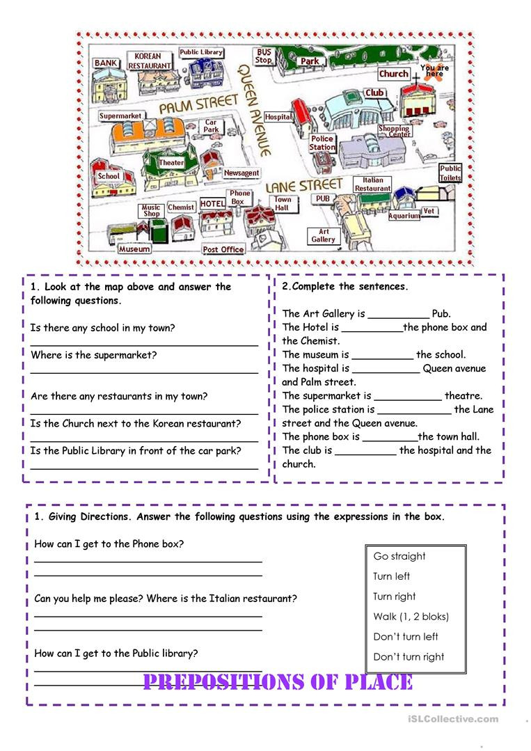 Printable Following Directions Worksheets Prepositions Of Place and Directions English Esl