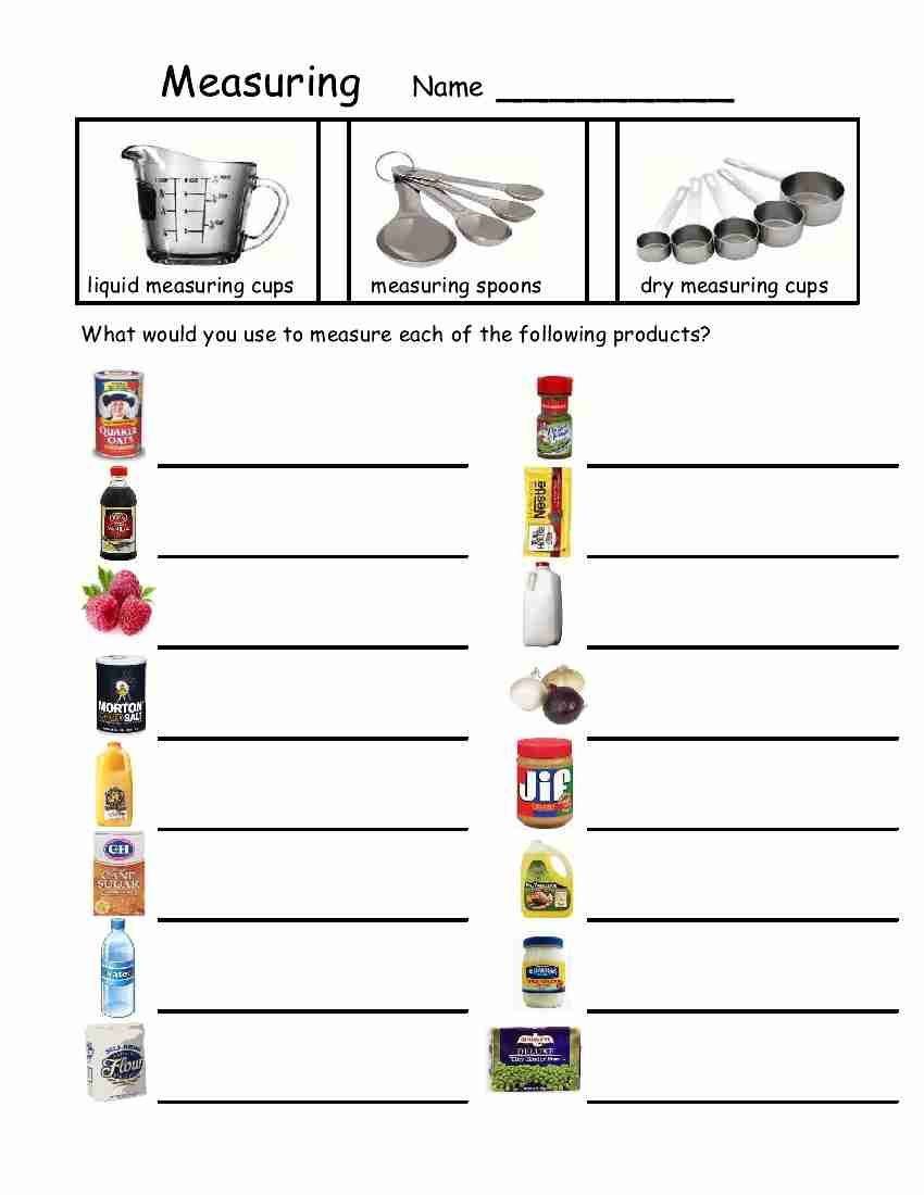 Printable Life Skills Worksheets Empowered by them Measuring Devices