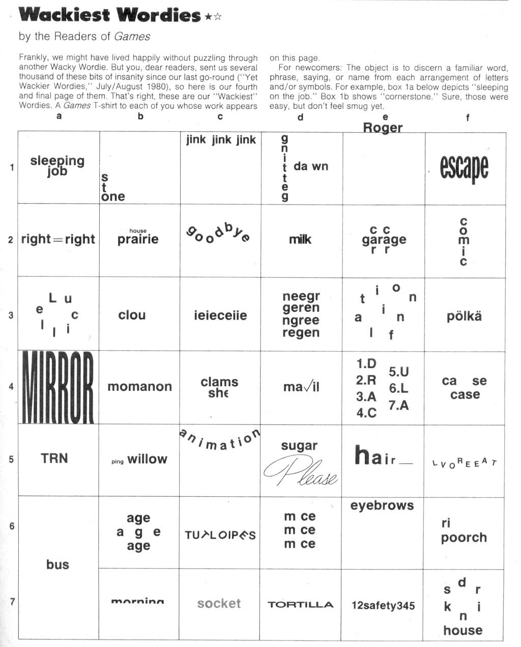 Printable Rebus Puzzles for Kids Wackie Wor S 60