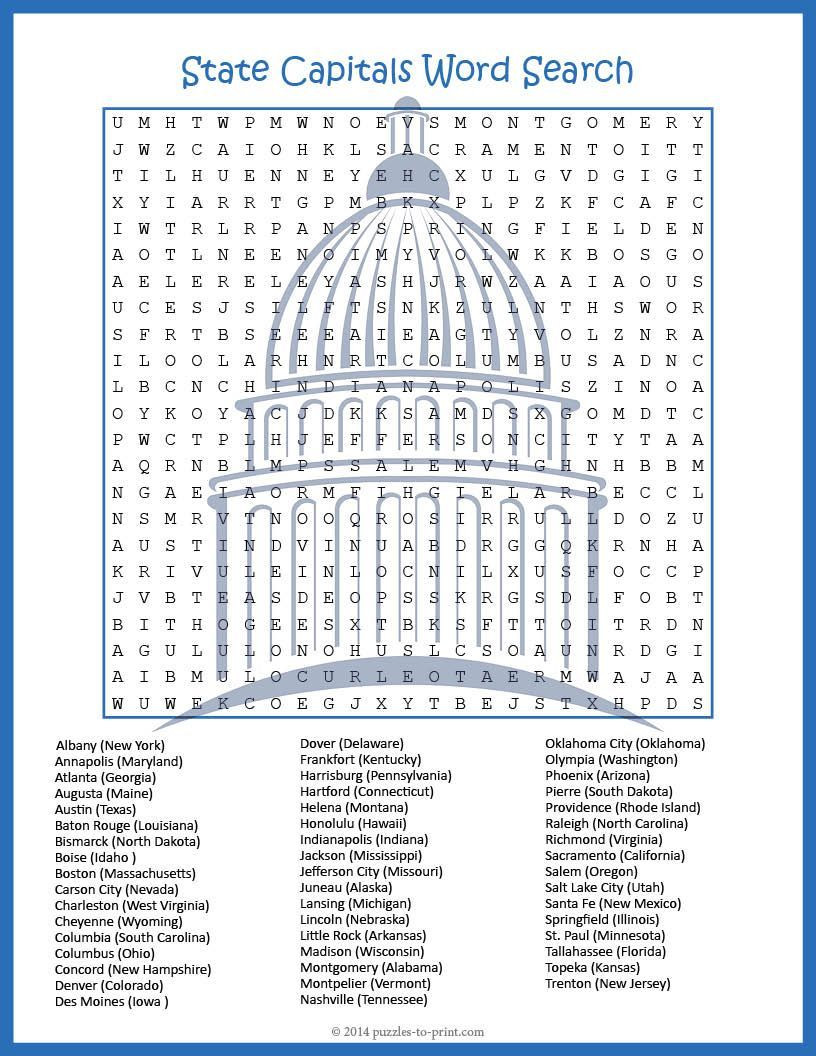 Printable States and Capitals Quiz A Giant Word Search that Will Challenge even the Most Sharp