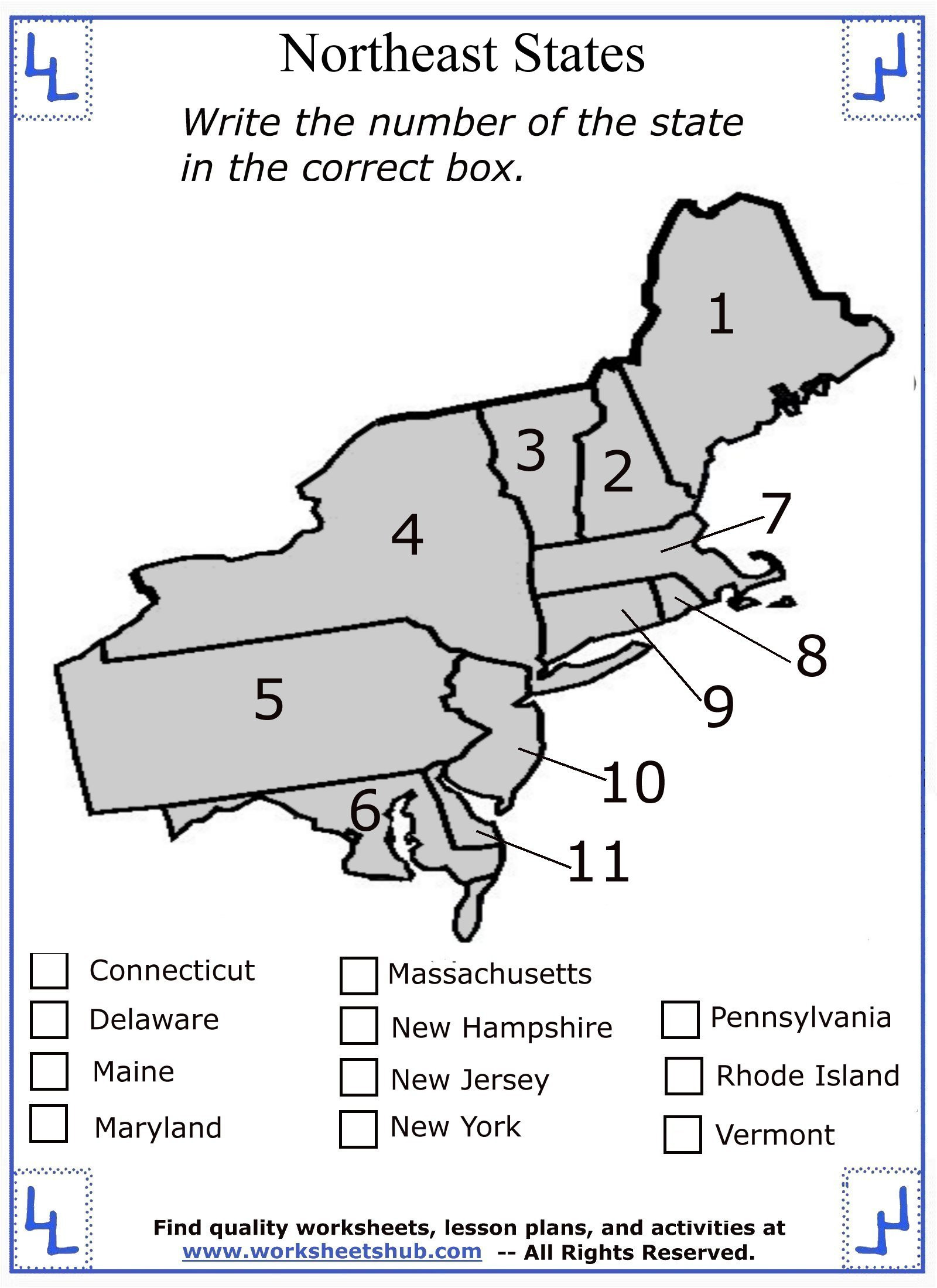 Printable States and Capitals Quiz Fourth Grade social Stu S northeast Region States and