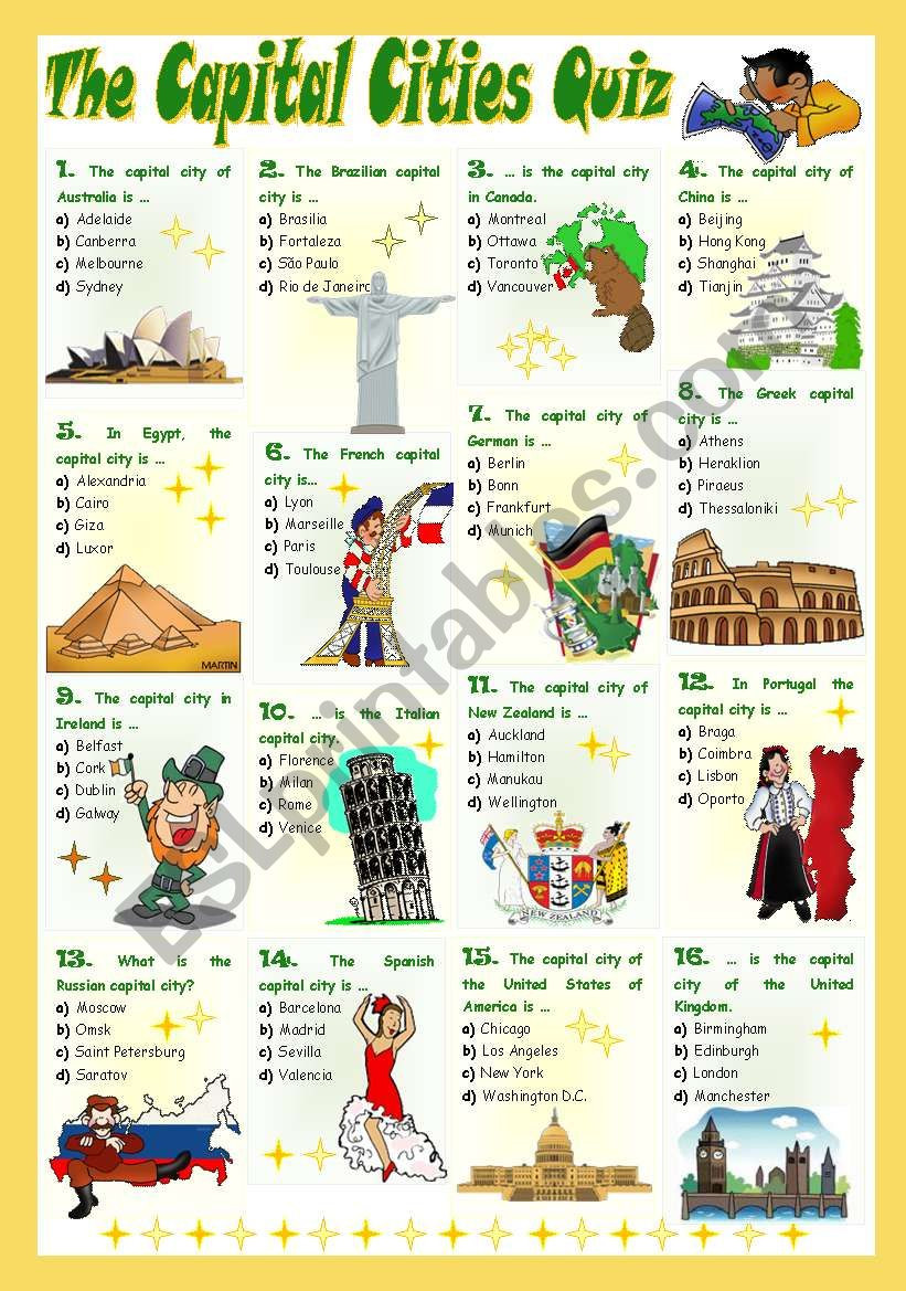 Printable States and Capitals Quiz the Capital Cities Quiz Esl Worksheet by Mariaolimpia