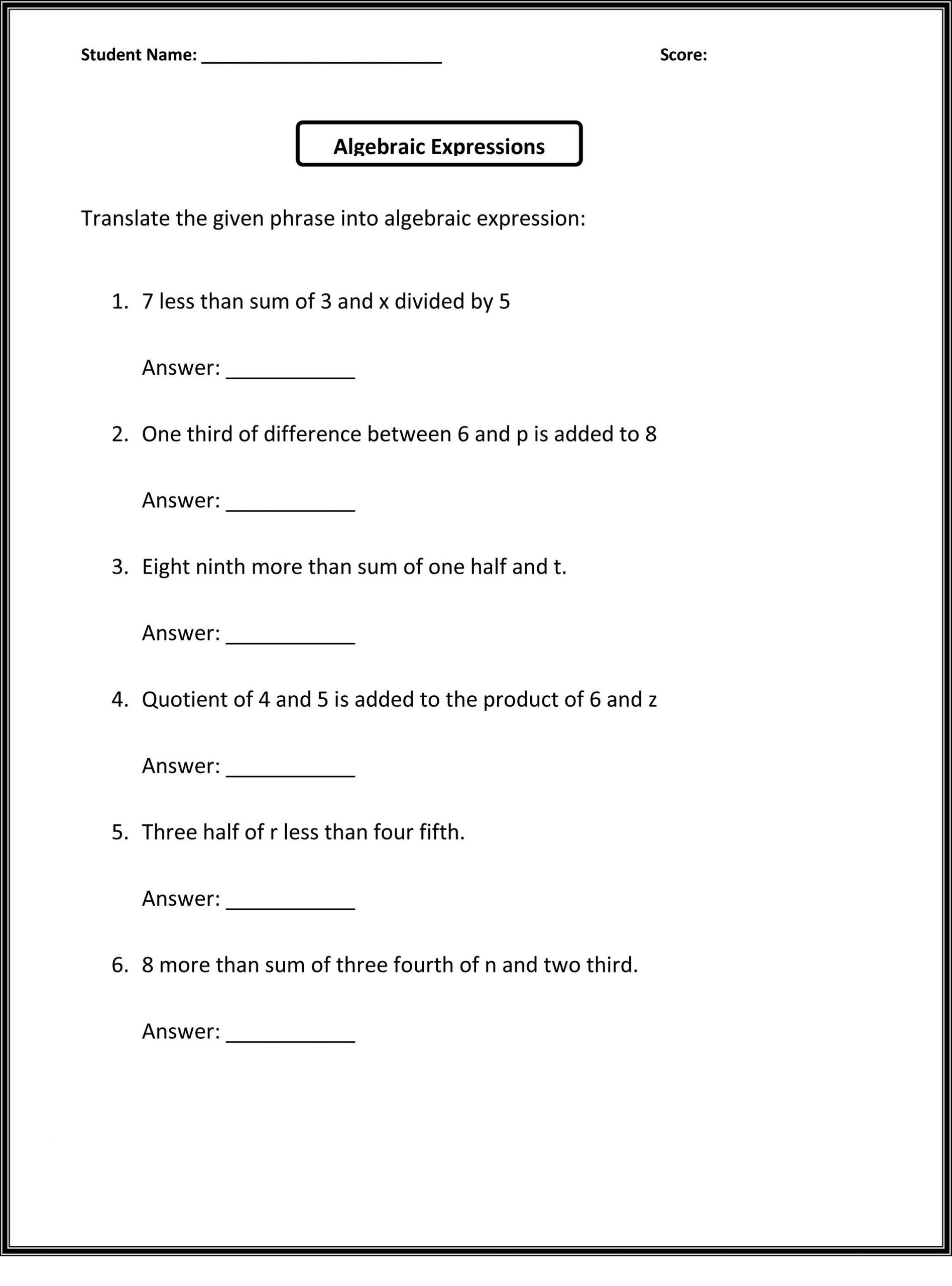 Probability Worksheet 6th Grade 6th Grade Worksheets to Print