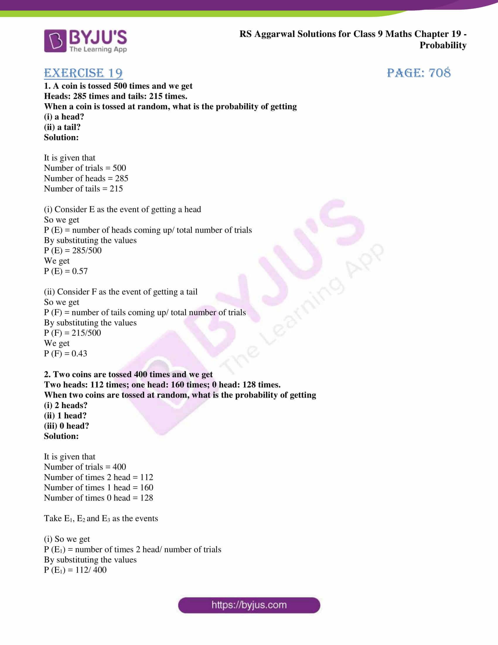 Probability Worksheets High School Pdf Free Rs Aggarwal solutions for Class 9 Chapter 19