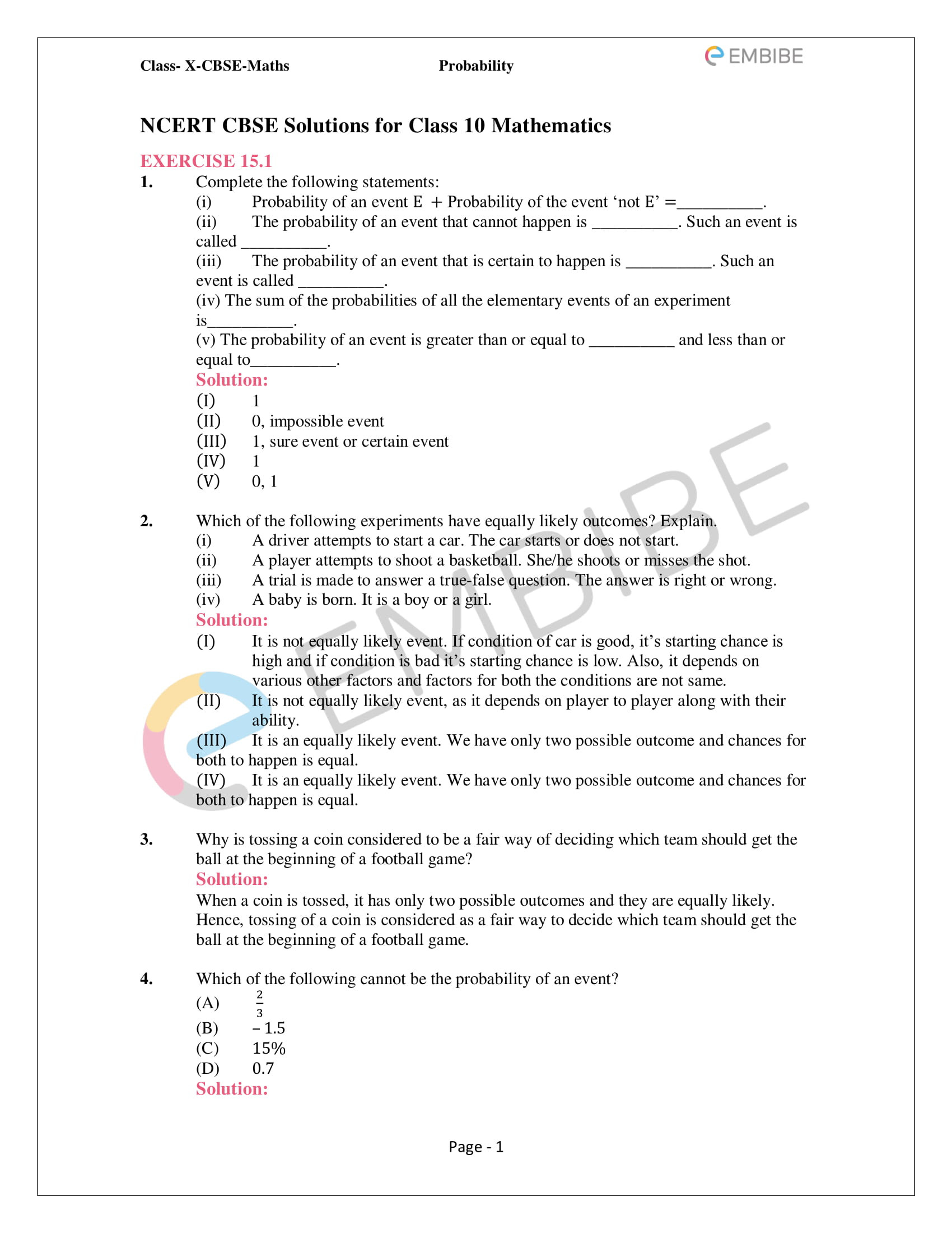 Probability Worksheets High School Pdf Ncert solutions for Class 10 Maths Chapter 15 Probability