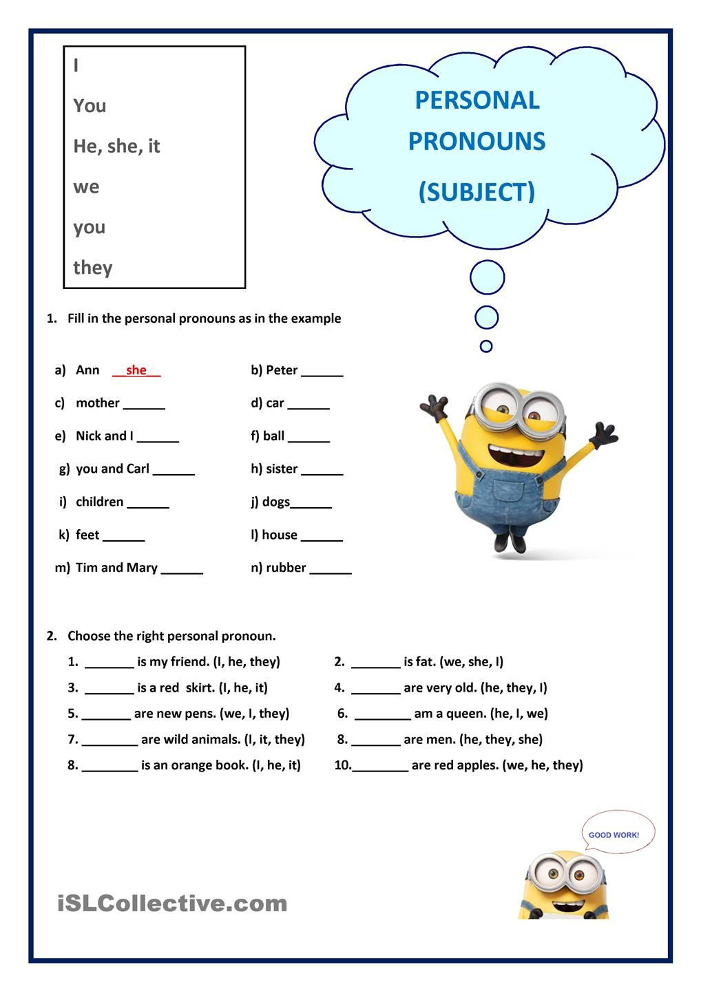 Pronoun Worksheets for 2nd Grade Personal Pronouns Subject