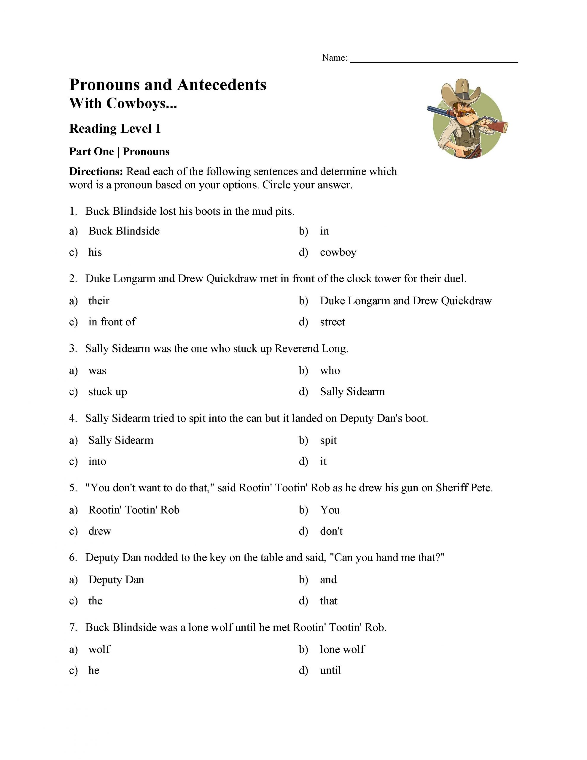 Pronouns Worksheets 5th Grade Pronoun and Antecedent Test with Cowboys