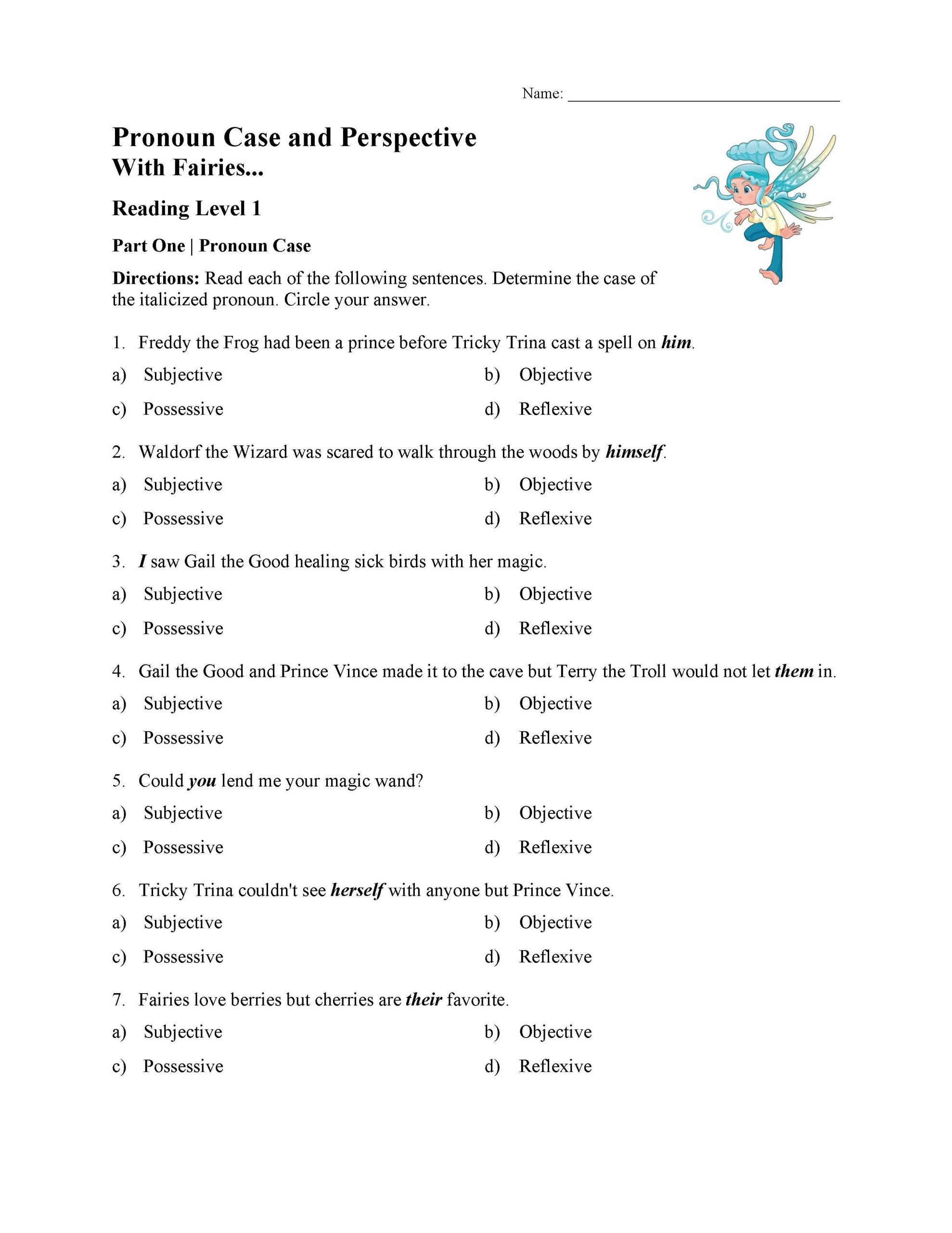 Pronouns Worksheets 5th Grade Pronoun Case and Perspective Test with Fairies