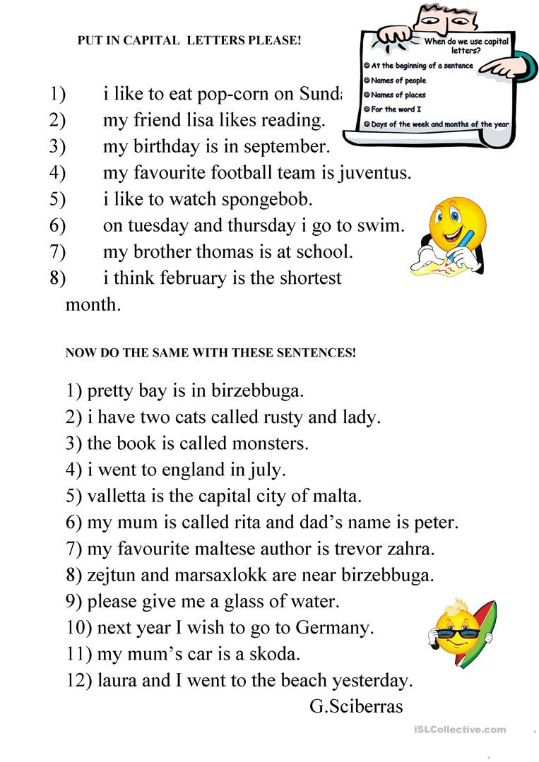 Proofreading Practice Middle School Capital Letters English Esl Worksheets for Distance