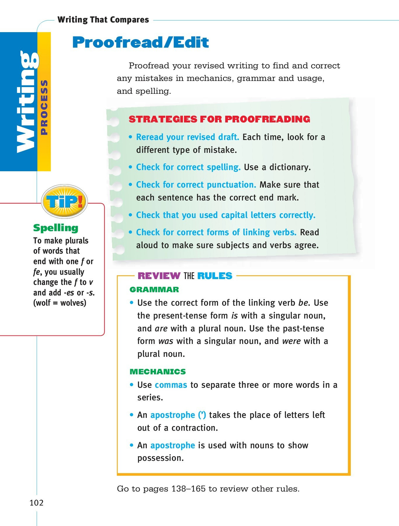 Proofreading Practice Middle School Grammar and Writing Handbook Se G3 Flip Book Pages 101 150