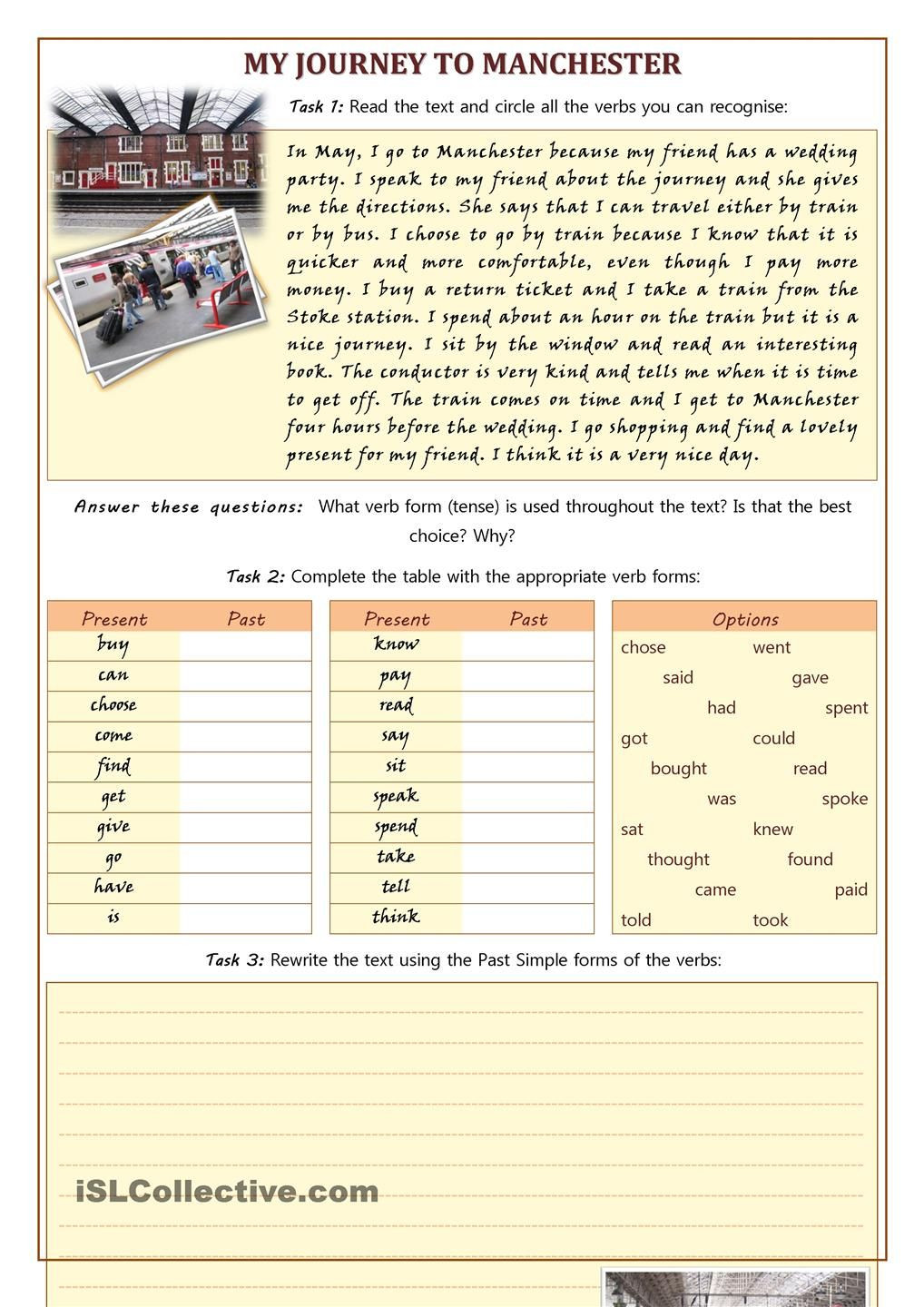 Proofreading Practice Middle School My Journey to Manchester Using Irregular Verbs Proofreading
