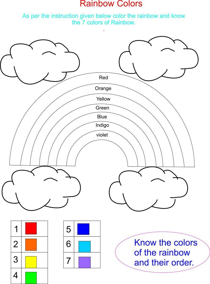 Rainbow Worksheets Preschool Pics to Color for Kids