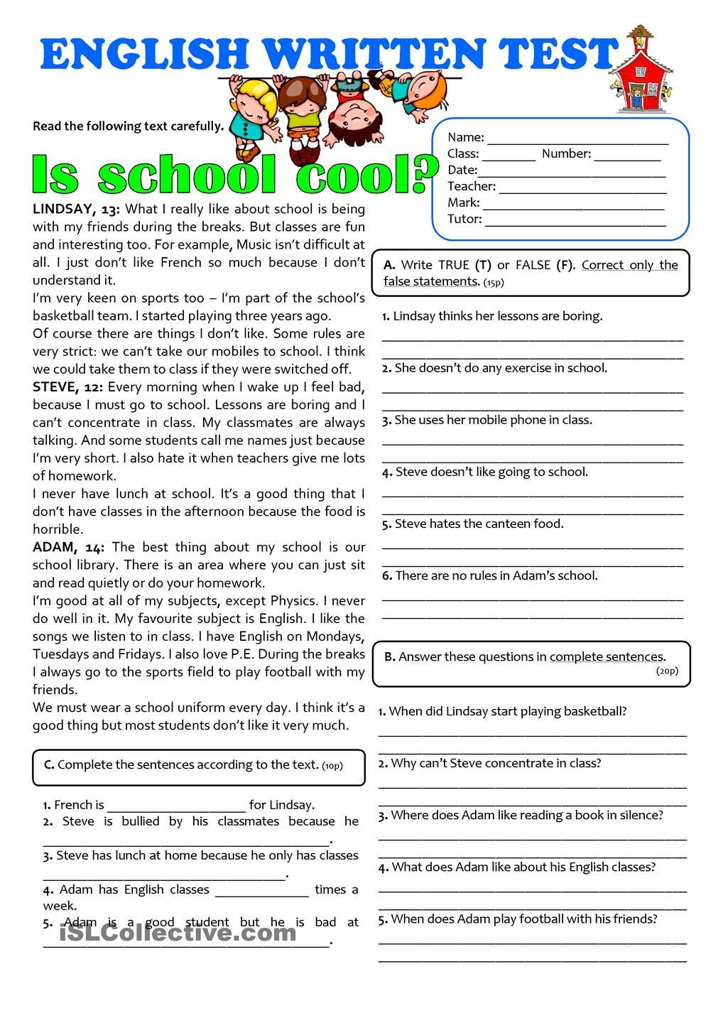 Reading Comprehension 7th Grade Worksheet is School Cool 7th Grade Test
