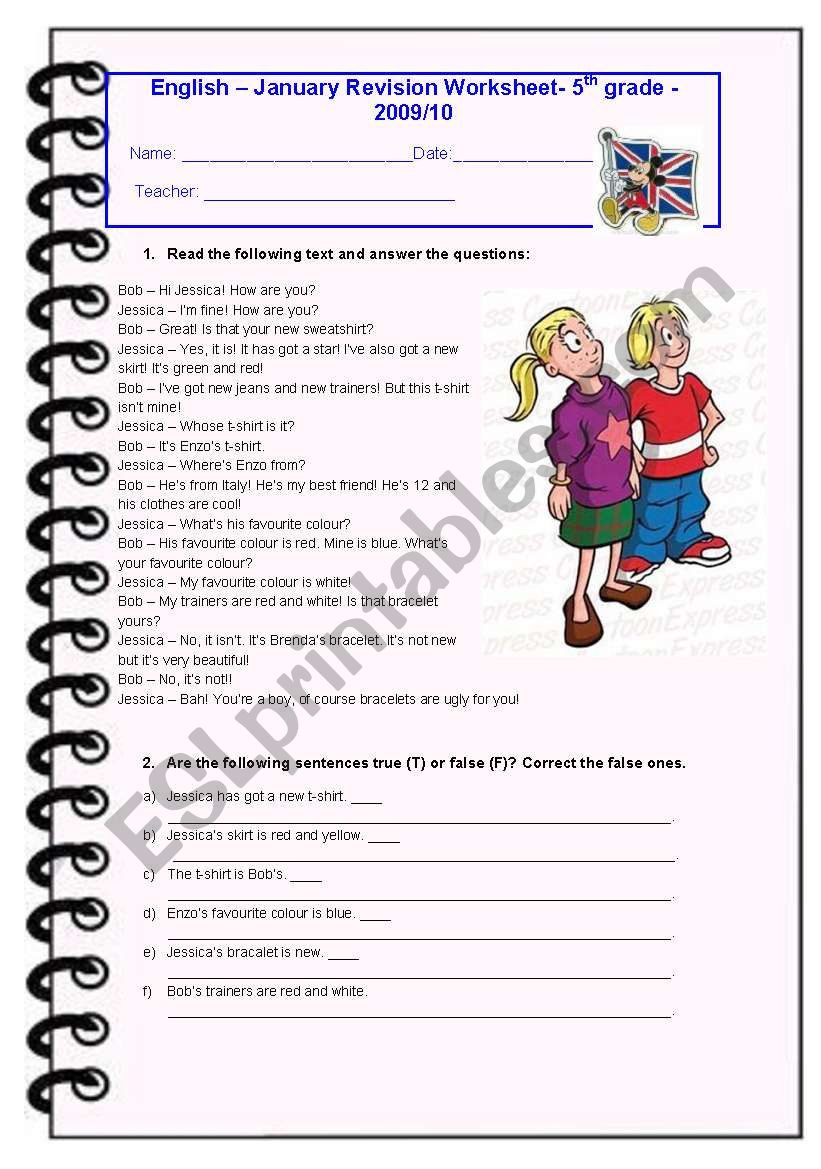 Reading Worksheets 5th Grade 5th Grade January Test Esl Worksheet by Diana Parracho