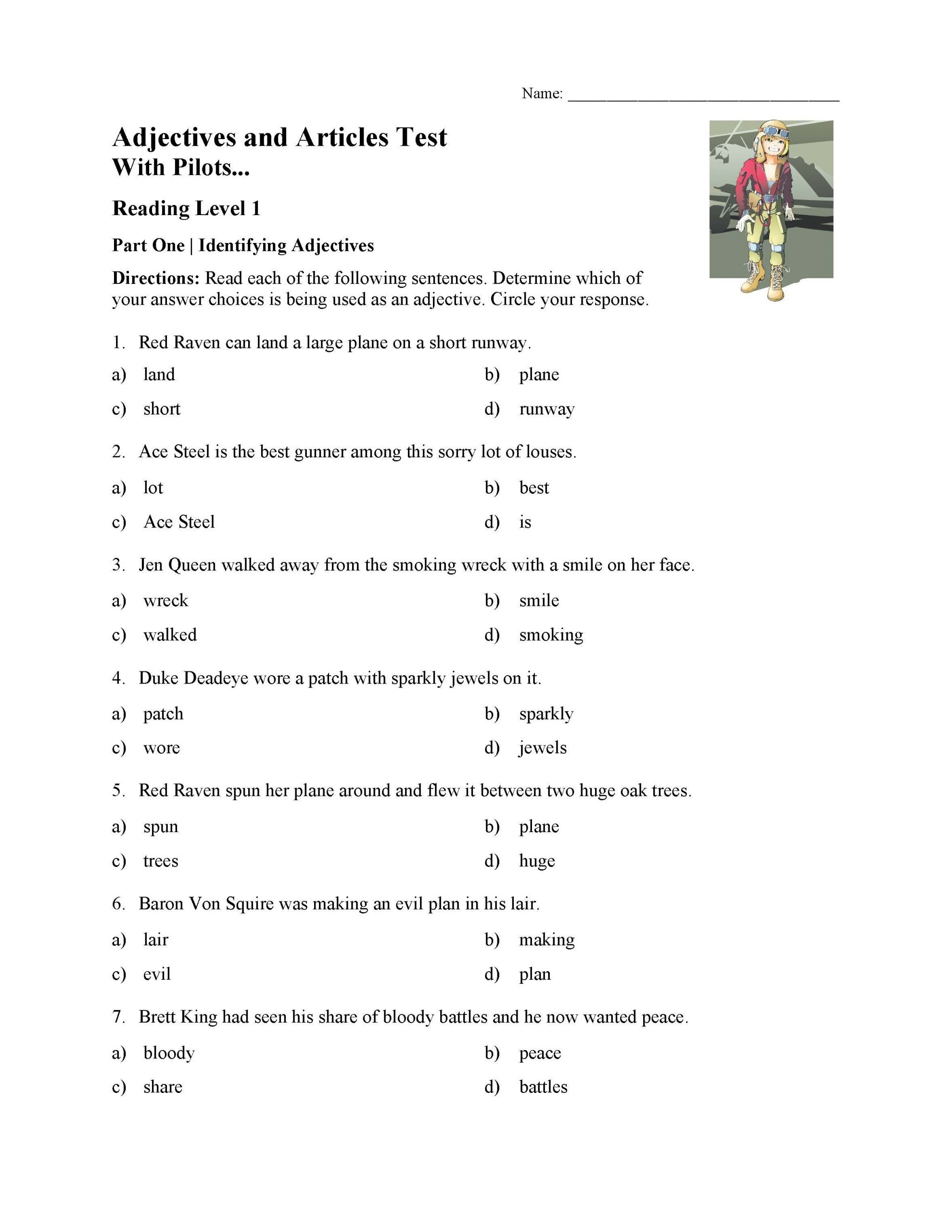 Reading Worksheets 5th Grade Adjectives and Articles Test with Pilots Reading Level 1
