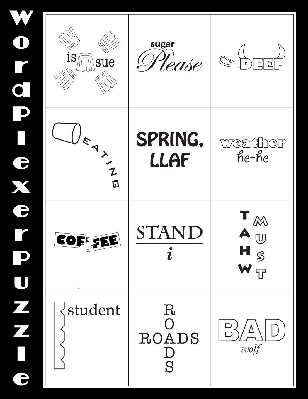 Rebus Puzzles for Adults Printable Word Plexer Puzzle Word Plexers are Word Based Puzzles that