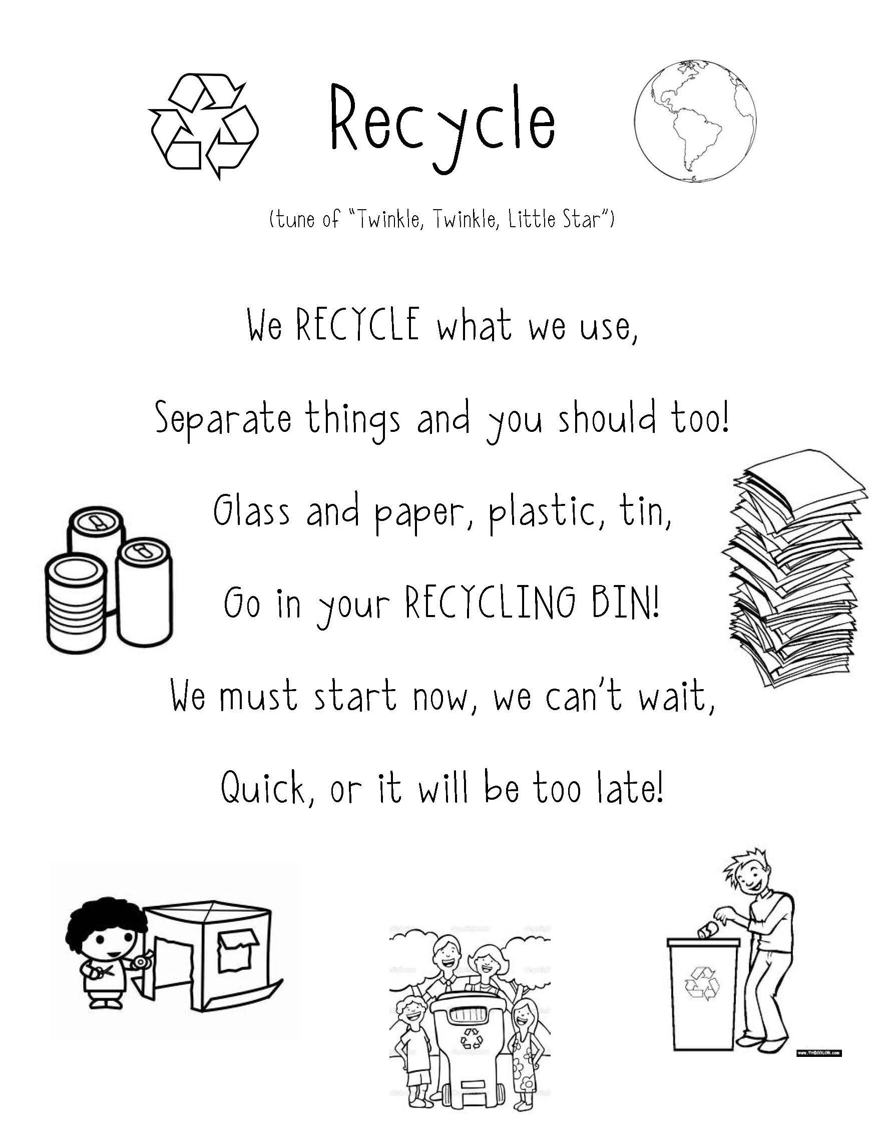 Recycling Worksheets for Middle School Recycle Poem Super Cute for Preschool and Teaching Students