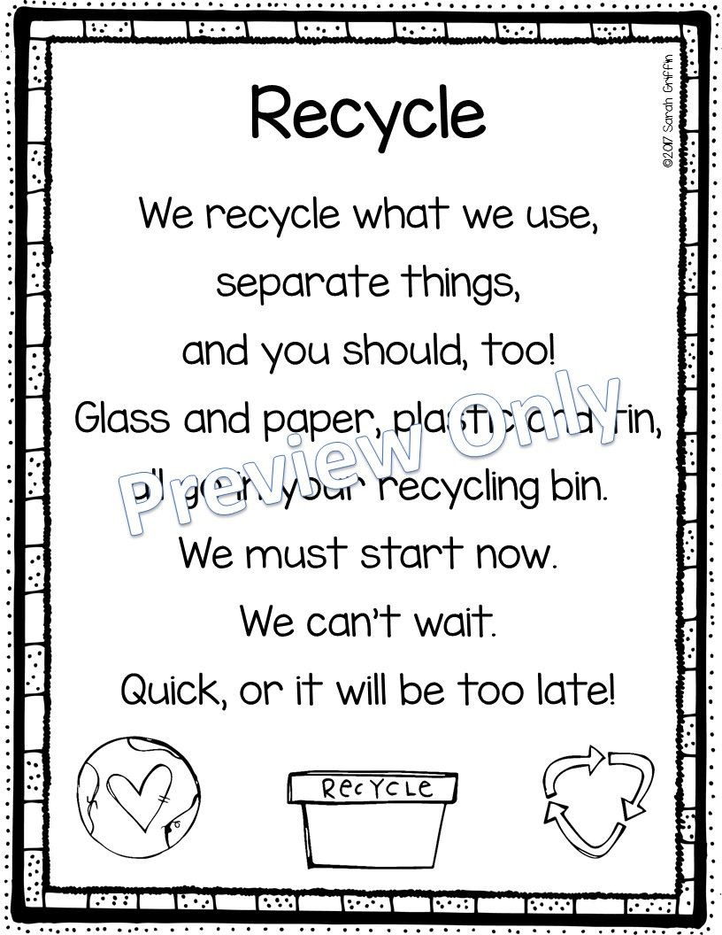 Recycling Worksheets for Middle School Recycle Printable Earth Day Poem for Kids