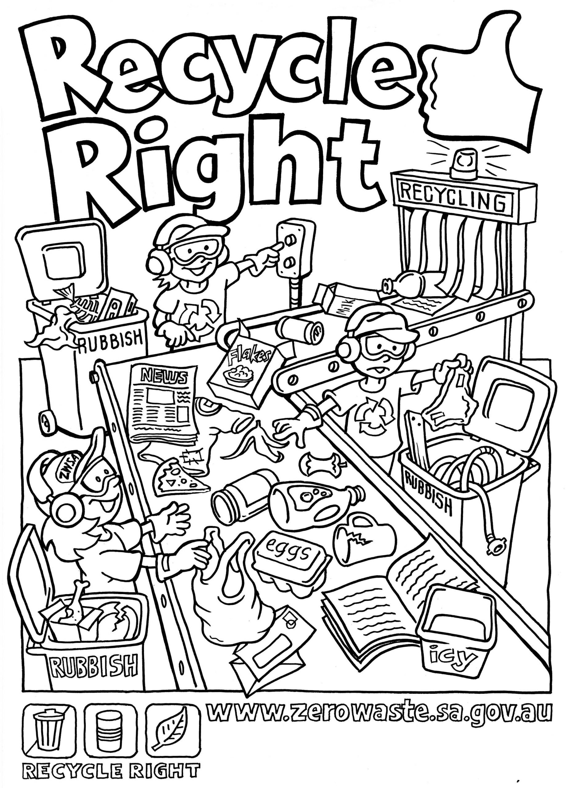 Recycling Worksheets for Middle School Recycling Coloring Pages for Kids Coloring Home