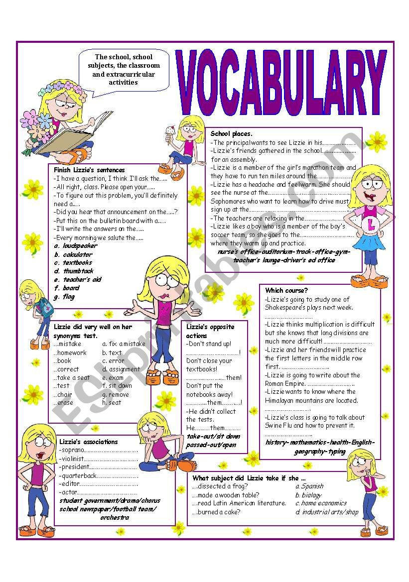 Recycling Worksheets for Middle School Recycling Vocabulary´ topic the School the Classroom