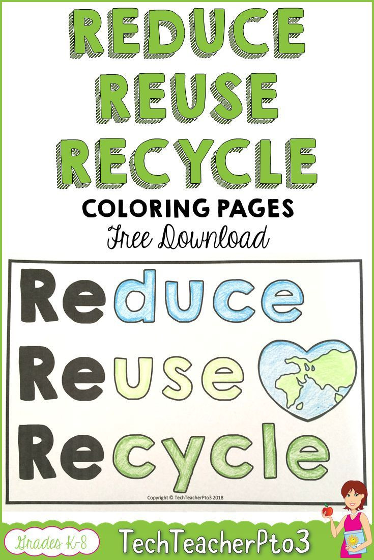 Recycling Worksheets for Middle School Reduce Reuse Recycle Coloring Pages Free Download