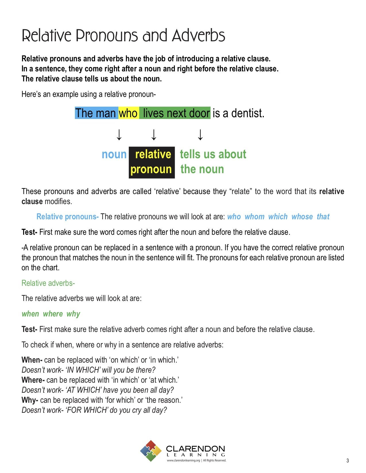 Relative Adverbs Worksheet 4th Grade Relative Pronouns and Adverbs
