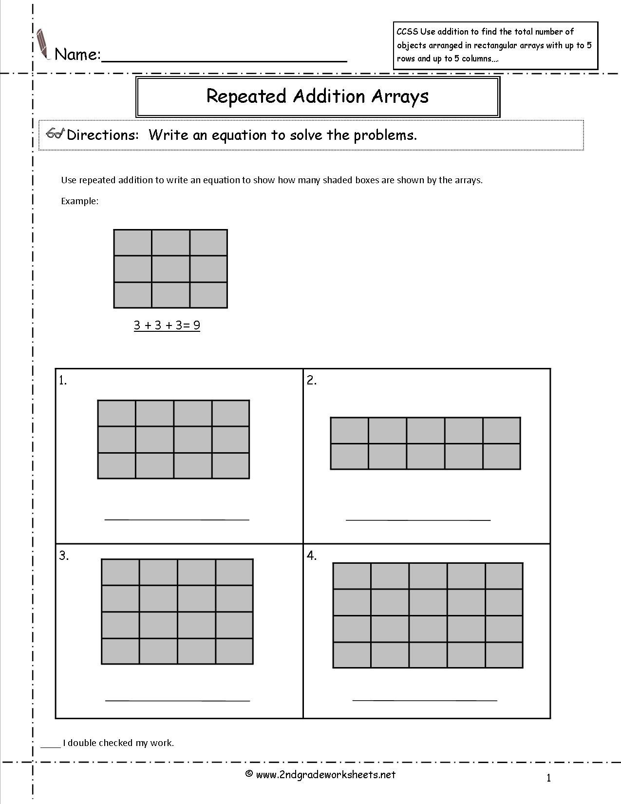 Repeated Addition Worksheets 2nd Grade Free Array Worksheets 2nd Grade Free Preschool