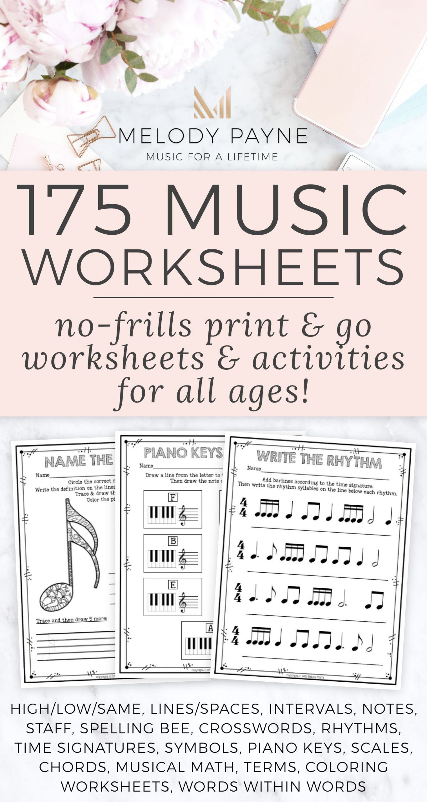 Rhythm Math Worksheet Coloring Pages Printable No Frills Music Worksheets for