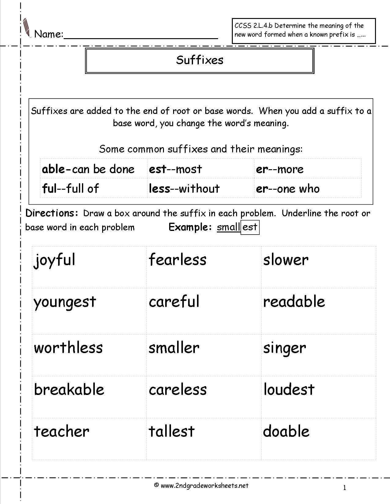 Root Words Worksheets 4th Grade Suffix Worksheets 2nd Grade