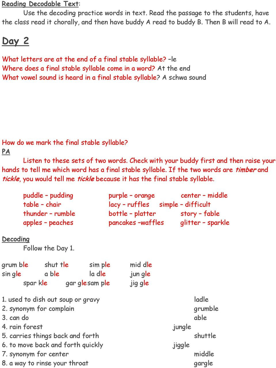 Schwa sound Worksheets Grade 2 Final Stable Syllable Le Pdf Free Download