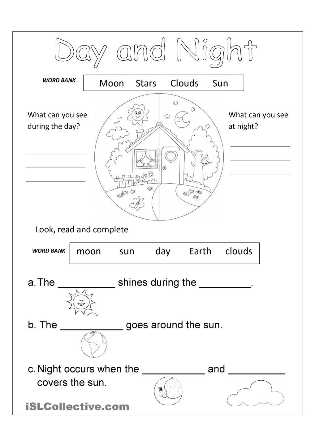 Science Worksheet First Grade Day and Night