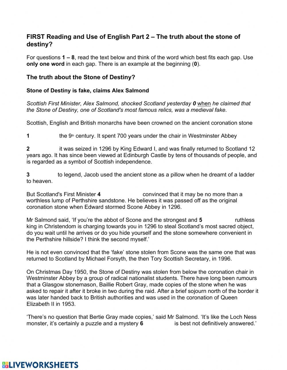 Second Grade History Worksheets the Truth About the Stone Of Destiny Interactive Worksheet