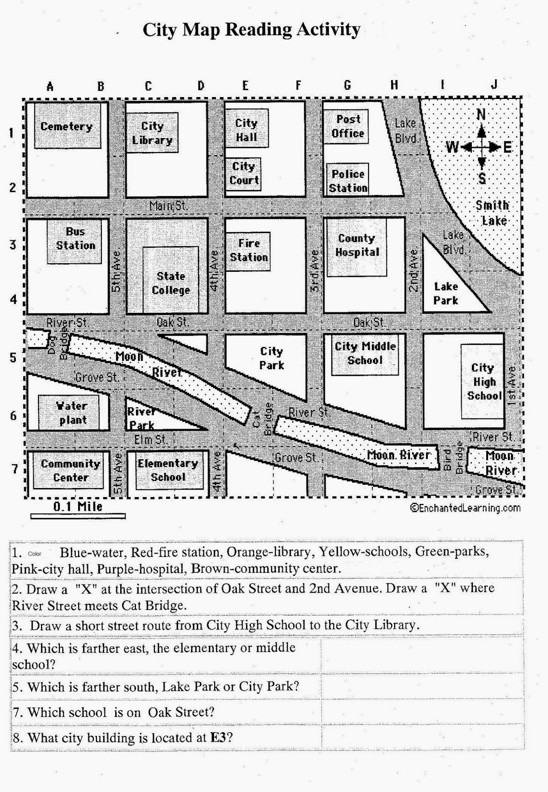 Second Grade Map Skills Worksheets Rachael S English Worksheets Map Reading Activity for 7th Grade