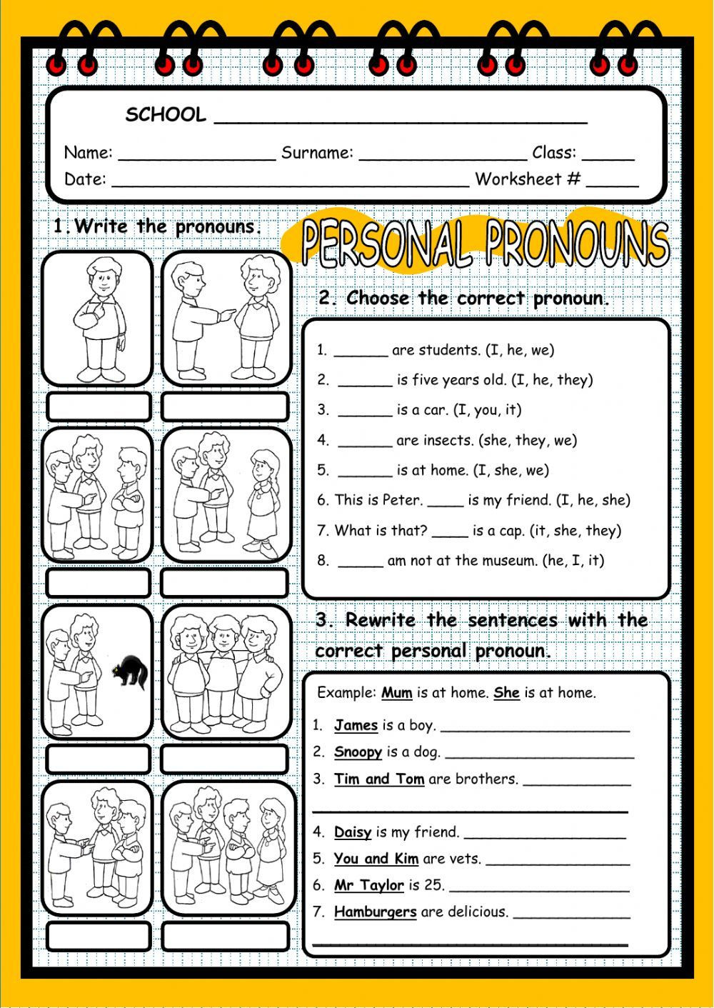 Second Grade Pronoun Worksheets Personal Pronouns Interactive and Able Worksheet