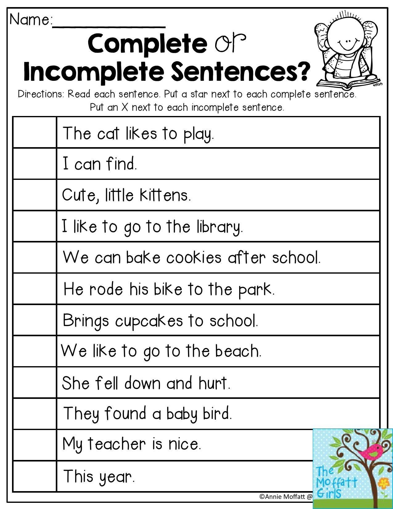 Sentence Worksheets First Grade Back to School Packets