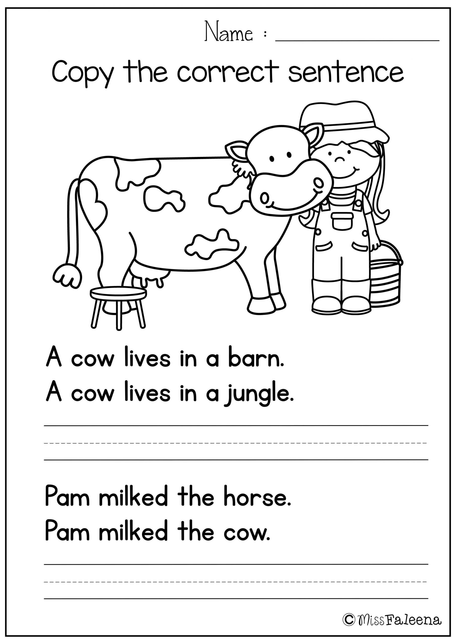 Sentence Worksheets for First Grade Free Sentence Writing Copy the Correct Sentence
