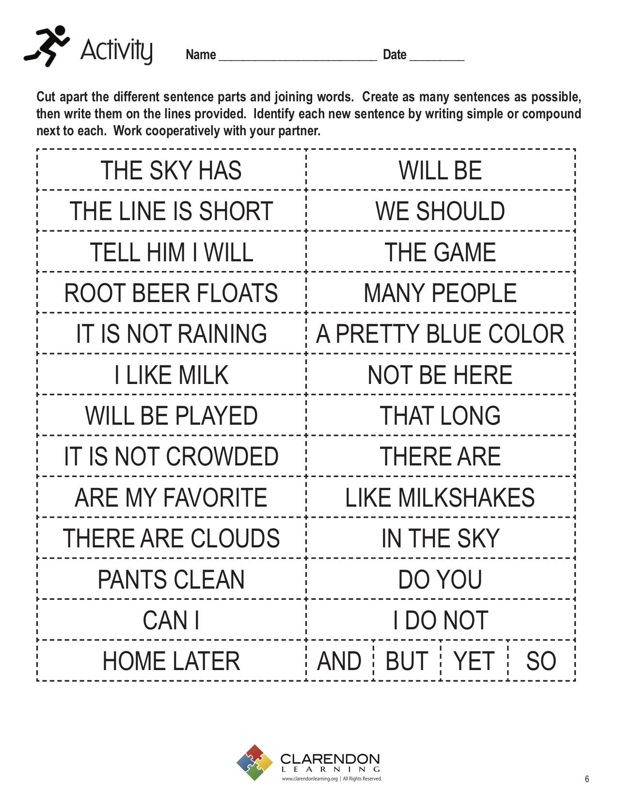 Sentence Worksheets for First Grade Simple and Pound Sentences