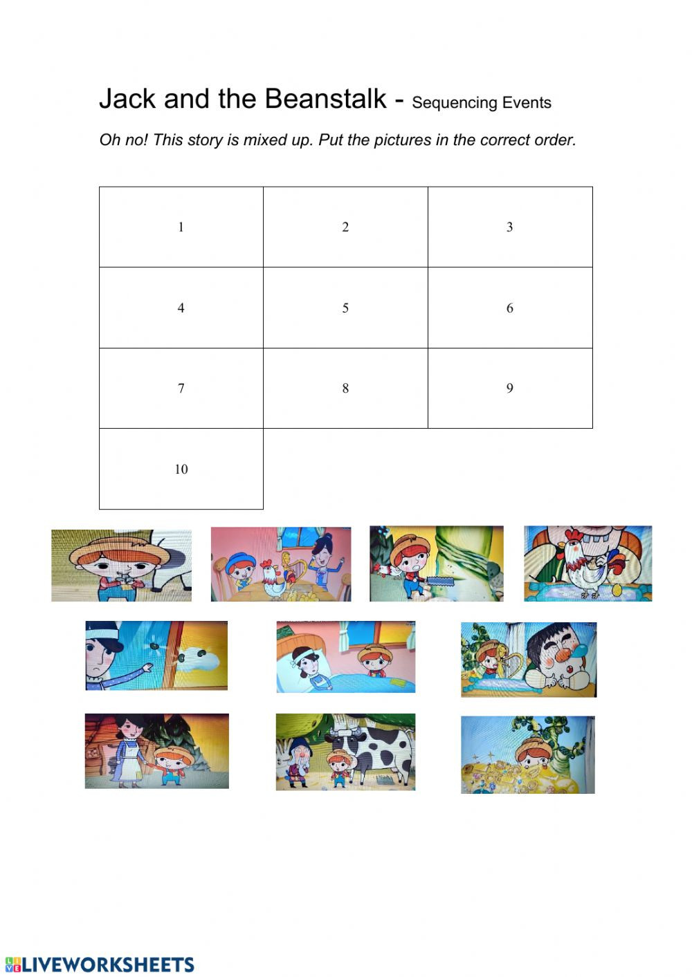 Sequencing events Worksheets Grade 6 Jack and the Beanstalk Sequencing events Interactive